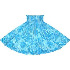 水色のパウスカート オーキッド・ヤシ・バナナリーフ柄 2715AQ フラダンス 衣装|pauskirt