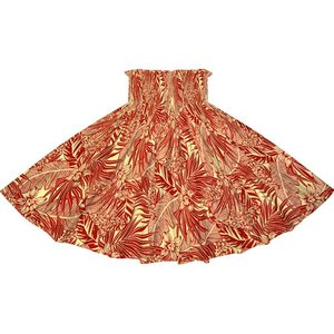 赤のパウスカート オーキッド・ヤシ・バナナリーフ柄 2715RD フラダンス 衣装|pauskirt