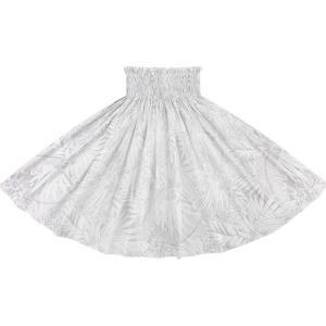 白のパウスカート オーキッド・ヤシ・バナナリーフ柄 2715WH フラダンス 衣装|pauskirt