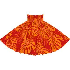 赤のパウスカート モンステラ・トロピカルリーフ柄 2716RD フラダンス 衣装|pauskirt