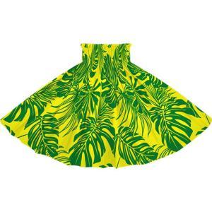 黄色のパウスカート モンステラ・トロピカルリーフ柄 2716YW フラダンス 衣装|pauskirt