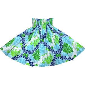 水色のパウスカート プルメリアレイ・リーフ柄 2717AQ フラダンス 衣装|pauskirt