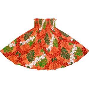 赤のパウスカート プルメリアレイ・リーフ柄 2717RD フラダンス 衣装|pauskirt