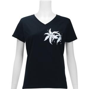 Tシャツ レディース 半袖 黒 Vネック スパイダーリリー フラダンス【メール便可】 pauskirt