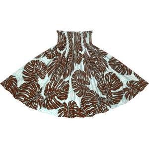 茶色のパウスカート モンステラ柄 2718BR フラダンス 衣装|pauskirt