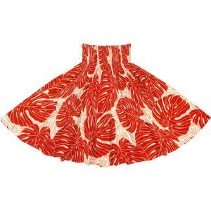 赤のパウスカート モンステラ柄 2718RD フラダンス 衣装|pauskirt