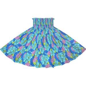 青のパウスカート ハイビスカス・クラウンフラワー柄 2719BL フラダンス 衣装 pauskirt
