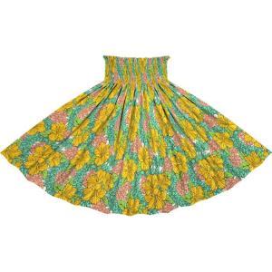 ヒスイ色のパウスカート ハイビスカス・クラウンフラワー柄 2719JD フラダンス 衣装|pauskirt