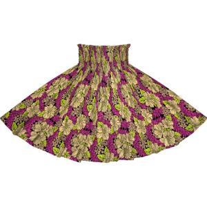 紫とベージュのパウスカート ハイビスカス・クラウンフラワー柄 2719PPBG フラダンス 衣装|pauskirt