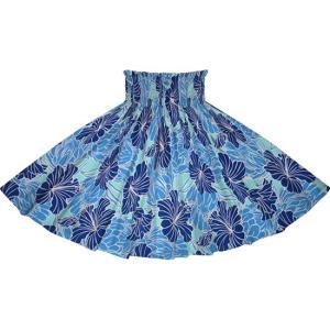 青のパウスカート ハイビスカス・プロテア柄 2721BL フラダンス 衣装 pauskirt