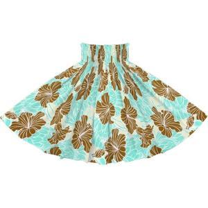 ヒスイ色のパウスカート ハイビスカス・プロテア柄 2721JD フラダンス 衣装|pauskirt