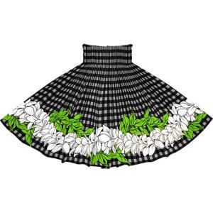 黒のパウスカート パラカ・プルメリアボーダー柄 2722BK フラダンス 衣装 pauskirt