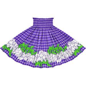 紫のパウスカート パラカ・プルメリアボーダー柄 2722PP フラダンス 衣装|pauskirt
