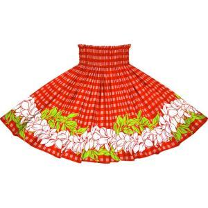 赤のパウスカート パラカ・プルメリアボーダー柄 2722RD フラダンス 衣装|pauskirt