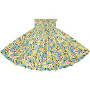 水色のパウスカート プルメリア柄 2723AQ フラダンス 衣装|pauskirt