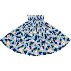 青のパウスカート プルメリア柄 2723BL フラダンス 衣装 pauskirt