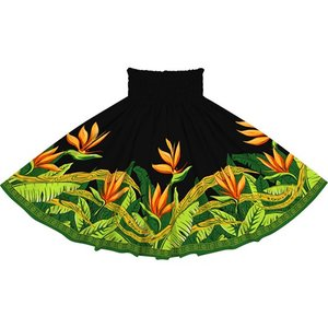 黒のパウスカート バードオブパラダイス柄 2726BK フラダンス 衣装 pauskirt