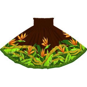 茶色のパウスカート バードオブパラダイス柄 2726BR フラダンス 衣装|pauskirt