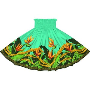 ヒスイ色のパウスカート バードオブパラダイス柄 2726JD フラダンス 衣装|pauskirt