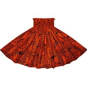 赤のパウスカート シダ・トライバル柄 2727RD フラダンス 衣装|pauskirt