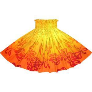 オレンジのパウスカート ティアレ・グラデーション柄 2728OR フラダンス 衣装|pauskirt