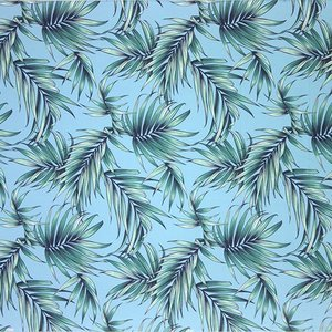 水色のハワイアンファブリック ヤシ柄 fab-2729AQ 【4yまでメール便可】|pauskirt