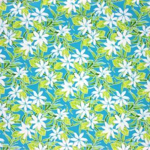 水色のハワイアンファブリック ティアレ柄 fab-2731AQ 【4yまでメール便可】|pauskirt