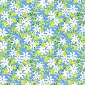 青のハワイアンファブリック ティアレ柄 fab-2731BL 【4yまでメール便可】|pauskirt