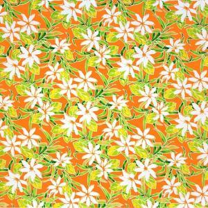 オレンジのハワイアンファブリック ティアレ柄 fab-2731OR 【4yまでメール便可】|pauskirt