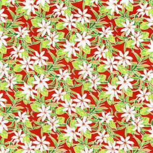 赤のハワイアンファブリック ティアレ柄 fab-2731RD 【4yまでメール便可】|pauskirt
