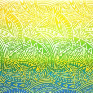 水色のハワイアンファブリック トライバル・グラデーション柄 fab-2732AQYW 【4yまでメール便可】|pauskirt
