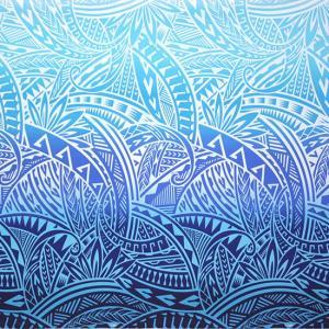 青のハワイアンファブリック トライバル・グラデーション柄 fab-2732BLAQ 【4yまでメール便可】|pauskirt