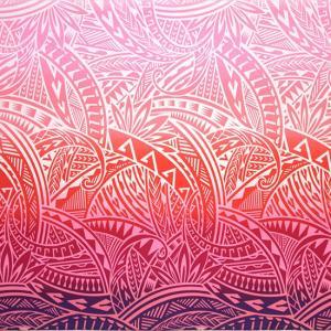 ピンクのハワイアンファブリック トライバル・グラデーション柄 fab-2732PiPi 【4yまでメール便可】|pauskirt