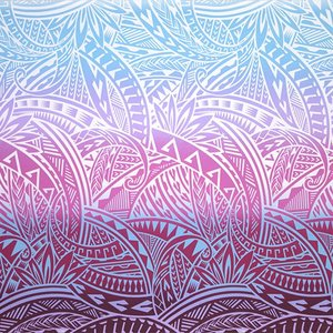 紫と水色のハワイアンファブリック トライバル・グラデーション柄 fab-2732PPAQ 【4yまでメール便可】|pauskirt