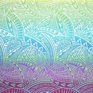 紫ときみどりのハワイアンファブリック トライバル・グラデーション柄 fab-2732PPLG 【4yまでメール便可】|pauskirt