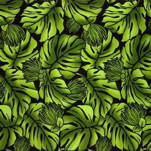 緑のハワイアンファブリック モンステラ・レフア柄 fab-2734GN 【4yまでメール便可】|pauskirt