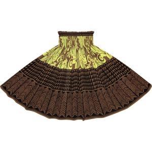 茶色のパウスカート モンステラ・プルメリア・タパ柄 2735BR フラダンス 衣装|pauskirt