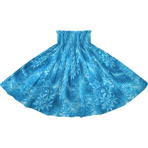 青のパウスカート ティアレ・ヤシ・モンステラ柄 2737BL フラダンス 衣装 pauskirt
