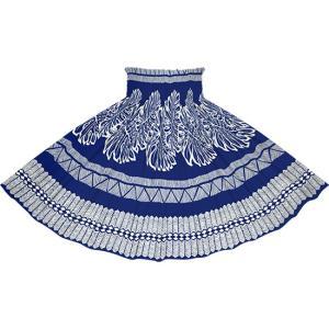 青のパウスカート モンステラ・タパ柄 2741BL フラダンス 衣装 pauskirt
