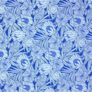 青と水色のハワイアンファブリック プロテア・ハイビスカス柄 fab-2743BLAQ 【4yまでメール便可】|pauskirt