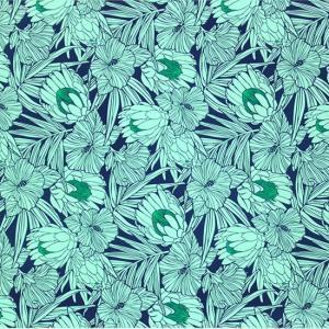 青とヒスイ色のハワイアンファブリック プロテア・ハイビスカス柄 fab-2743BLJD 【4yまでメール便可】|pauskirt