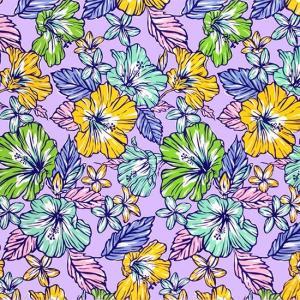 紫のハワイアンファブリック ハイビスカス・プルメリア柄 fab-2744PP 【4yまでメール便可】|pauskirt