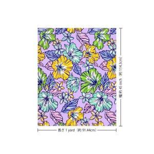 紫のハワイアンファブリック ハイビスカス・プルメリア柄 fab-2744PP 【4yまでメール便可】|pauskirt|02