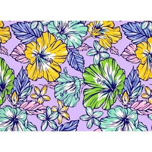 紫のハワイアンファブリック ハイビスカス・プルメリア柄 fab-2744PP 【4yまでメール便可】|pauskirt|03