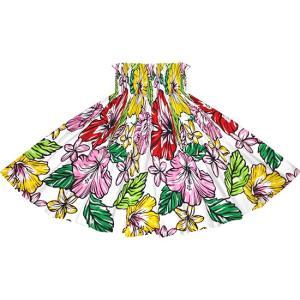 白のパウスカート ハイビスカス・プルメリア柄 2744WH フラダンス 衣装|pauskirt