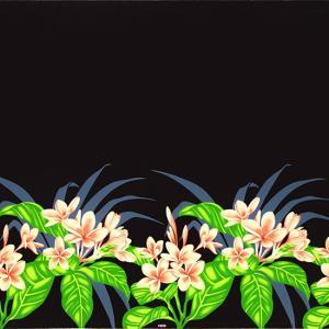 黒のハワイアンファブリック プルメリア柄 fab-2745BK 【4yまでメール便可】|pauskirt