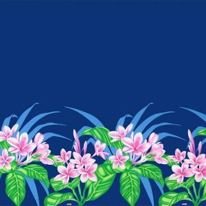 青のハワイアンファブリック プルメリア柄 fab-2745BL 【4yまでメール便可】|pauskirt