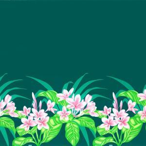 ヒスイ色のハワイアンファブリック プルメリア柄 fab-2745JD 【4yまでメール便可】|pauskirt