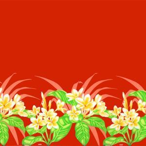 赤のハワイアンファブリック プルメリア柄 fab-2745RD 【4yまでメール便可】|pauskirt