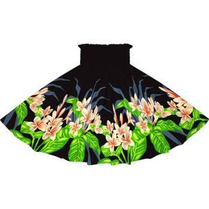 黒のパウスカート プルメリア柄 2745BK フラダンス 衣装|pauskirt